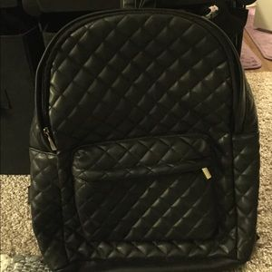 Faux Black Leather Quilted Backpack Target